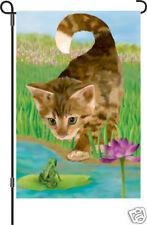 "Nice to Meet You (Cat & Frog) Garden (13"" x 18"" Approx) Flag Pr 51127"