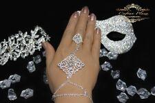 Bracelet d'ESCLAVE anneau bijou pour MAIN pu Marriage argent / Strass Or