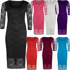 Womens Plus Size 3/4 Sleeve Floral Lace Calf Length Long Bodycon Midi Dress 8-22