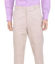 Tasso Elba Classic Fit Solid Ivory Cotton Washable Khaki Casual Pants
