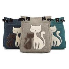 Women Cat Print Handbag Shoulder Bags Shopping Tote Purse Canvas Messenger Bag B