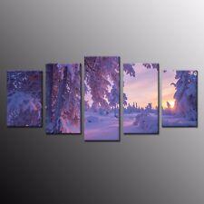 Canvas Wall Art Purple Snowy World Canvas Print Art for Home Decor-5pcs