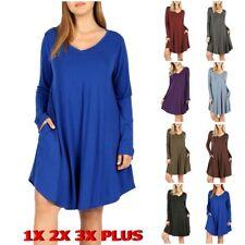 Womens V-Neck Long Sleeve A-Line Swing Dress Flared Round Hem PLUS Sizes Pocket