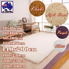 Shag Floor Rug Carpet Mat Fluffy Rectangle Shaggy 8 Sizes White Purple HCAR947