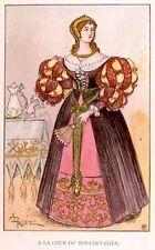 French Fashion -c1890- Chromo - A LA COUR DU ROI-CHEVAL