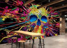 3D Colorful Skull Art 0344 Wall Paper Wall Print Decal Wall AJ WALLPAPER CA