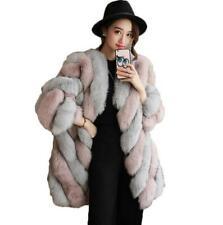 Occident Women Spliced Faux Fur Coat Jacket Outwear Warm Winter Shaggy New Parka