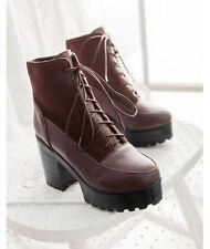 stivali stivaletti invernali alti comodi scarpe donna tacco 9 cm rosso 8748