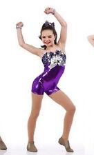 Purple Metallic Acro Jazz Dance Biketard Costume Child XS, CS, CXL, Adult  2XL