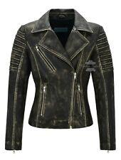Womens Leather Jacket Fashion Black Rust Beige Vintage Lambskin Biker Style 9334