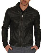 New Royal Men Club Biker Real Sheepskin Leather Jacket In Black S-XXXL