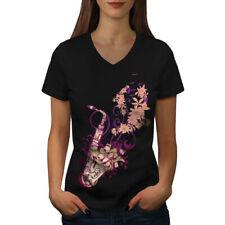 Saxophone Jazzy Tune Women V-Neck T-shirt NEW | Wellcoda