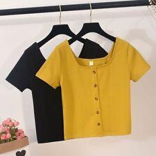 Women Knit Short Sleeve T-Shirt Square Neck Button Down Pullover Shirt Blouse