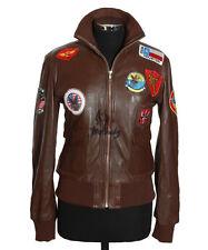 Ladies TOP GUN BROWN Aviator Style Real Lambskin Nappa Leather Bomber Jacket