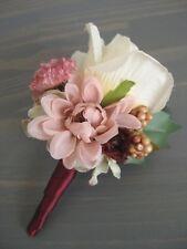 Rustic Wedding Ivory Cream Blush Silk Rose Flower Satin Wrap Stem Boutonnière