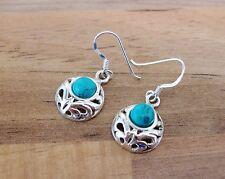 925 Sterling Silver - Semi-Precious Round Gemstone Hook Earrings - SP05