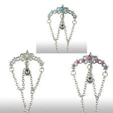 Bauchnabel Piercing Schmuck Stern Bogen Kristalle mit Ketten Hänger