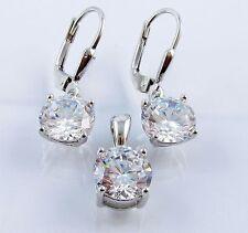 Damen Schmuckset 925 Silber Ohrringe Anhänger mit/ohne Kette Halskette Zirkonia
