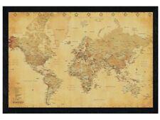 New Black Wooden Framed Vintage Style World Map Poster