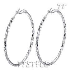 High Quality TT 18K White Gold Plated Large Hoop Earrings 3-5cm (ED97)
