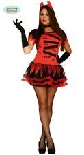 sexy Teufelin Halloween Karneval Party Kostüm für Damen rot Hörner Hölle Gr.XS/S
