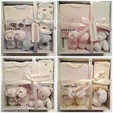 NEW BABY BOYS GIRLS GIFT SET,4 PIECE SET,GIFT BOX,NEWBORN GIFT,PINK BLUE WHITE