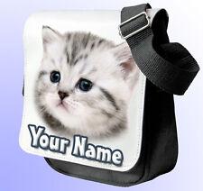 Gato Gris Gatito Personalizado De Hombro/Bolso de mano * De los 2 Colores para Elegir * Regalo!!!