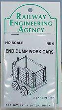 HO/HOn3 WISEMAN REA-6 END DUMP MINE CARS,WORK CARS    RAILWAY ENGINEERING AGENCY