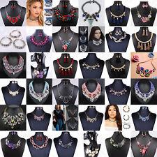 Fashion Women Crystal Pendant Choker Chunky Statement Chain Bib Necklace Jewelry