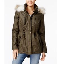 AMERICAN RAG Women's Juniors OLIVE COATED PARKA COAT w/ Faux Fur Trim Hood $129