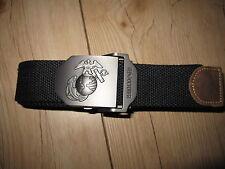 NOI Cintura dei pantaloni USMC Marine Corps Insegne 40mm Fibbia Nero WWII