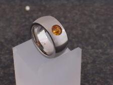 Neu Edelstahl Ring Silber Damen Perlen Kugel drehbar Swarovski Topaz Bandring 10
