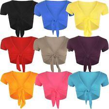New Ladies Cap Short Sleeve Tie Up Front Cropped Bolero Shrug Cardigan Top 8-14