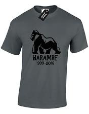Harambe Silhouette Da Uomo T Shirt Tee RIP Zoo Animale Gorilla ANNIVERSARIO Top Nuovo