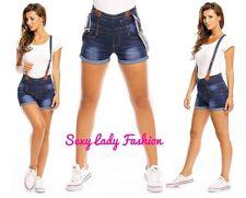 Womens Sexy High Waist Denim Jeans Shorts with Braces Summer Dark Washed Blue