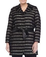 MARINA RINALDI Women's Black Nastro Jacquard Belted Jacket $975 NWT