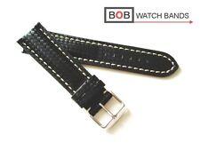 - Bob echtlederuhrband Carbon para Laco cronógrafo negro weissnaht
