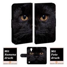 Samsung Galaxy s4 Mini Funda mano bolsa con negro gato foto texto presión de imagen