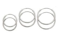 100% Genuine 925 Sterling Silver 1.2mm Continuous Sleepers Hoop Earrings 5 Sizes