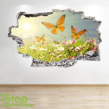 papillon PRAIRIE Autocollant Mural 3D LOOK - chambre salon nature Z242