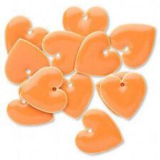 Orange Heart Charms Enamel Epoxy Silver 16mm Jewelry Lot of 4