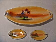 Japan CELERY DISH & 2 salt dishes set Tashiro Shoten hand painted orange