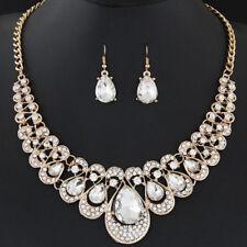 Indian Rhinestone Bridal Wedding Jewelry Sets Gemstone Necklace Earrings Jian