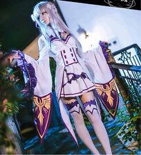 Anime Re:Zero kara Hajimeru Isekai Seikatsu Emilia Cosplay Costume + Stocking