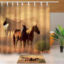 Animal Horse In Farm Bathroom Waterproof Fabric Shower Curtain Set 71Inches Long