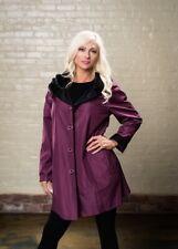 "UBU Piped 39"" Reversible Parisian Raincoat: color - Black/Raspberry"