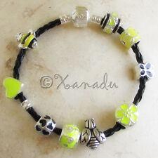 Bumble Bee Black Leather European Charm Bracelet With Yellow Black Enamel Beads