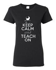 Ladies Keep Calm and Teach On Book Tutor Professor Teacher School T-Shirt Tee