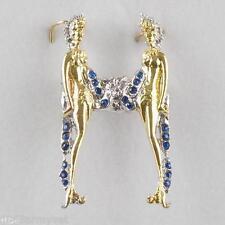 NIB Erte Alphabet Pin & Necklace Pendant Gold, Silver, Gems, Letter H - Art Deco