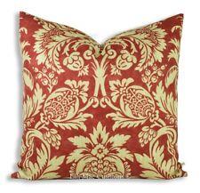Luxury Designer Brick Red Terracotta Botanical Cushion Pillow Throw Cover